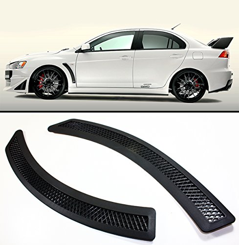 Evo Fenders - Evo 10 X Style Black Mesh Polyurethane Front Fender Side Vent Cover For Lancer