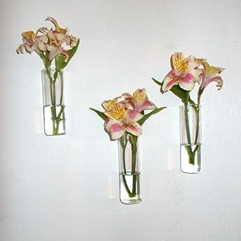 Amazon Com Set Of Three Hand Blown Glass Wall Vases Home Amp Kitchen