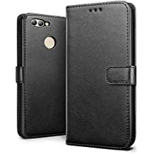 Huawei nova 2 Case, SLEO Retro Vintage PU Leather Wallet Flip Case Cover for Huawei nova 2 (Verizon, AT&T Sprint, T-mobile, Unlocked) - Black