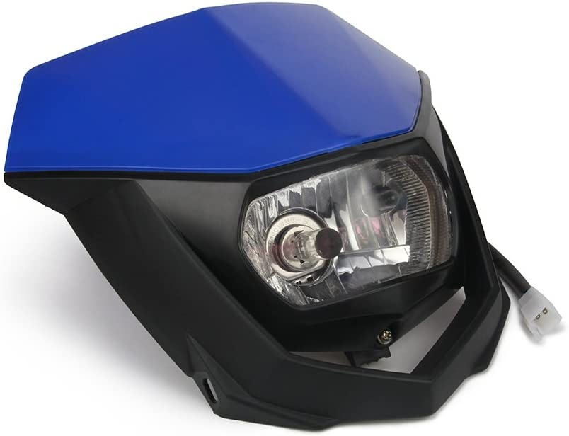 Supermoto Headlight Motorcycle Pit Dirt Bike Universal Headlights Head Light Street Fighter for Yamaha YZ80 YZ85 YZ125 YZ250 YZ250F YZ400F YZ426F,Blue