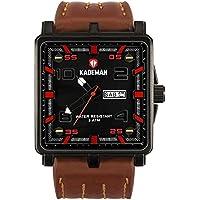 KADEMAN Sport Men's Waterproof Fashion Business Casual PU Leather Band Wrist Watch(brown)