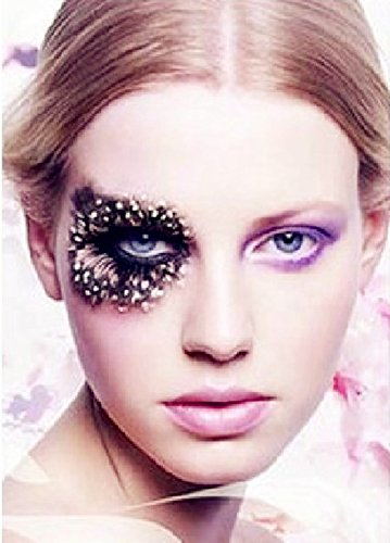 Dorisue 3D Sexy leopard print Tiger Fake Eyelashes Feather False Eye Lashes dramatic (White Feather Lashes)