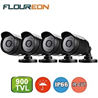 Floureon 4 Packs 720P AHD Security Camera Monitor Outdoor Bullet 1/3 3.6mm/0.14 inch Lens CMOS 1500TVL Weatherproof Night Vision Alarm Motion Detection Only Work with AHD DVR CCTV Camera System