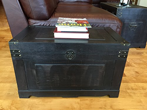 Styled Shopping Newport Medium Wood Storage Trunk Wooden Treasure Chest - Black