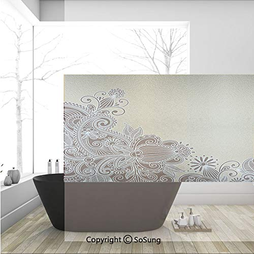 3D Decorative Privacy Window Films,Old Fashioned Groovy Spring Inspired Elements Asian Influences Retro Doodle Decorative,No-Glue Self Static Cling Glass Film for Home Bedroom Bathroom Kitchen Office