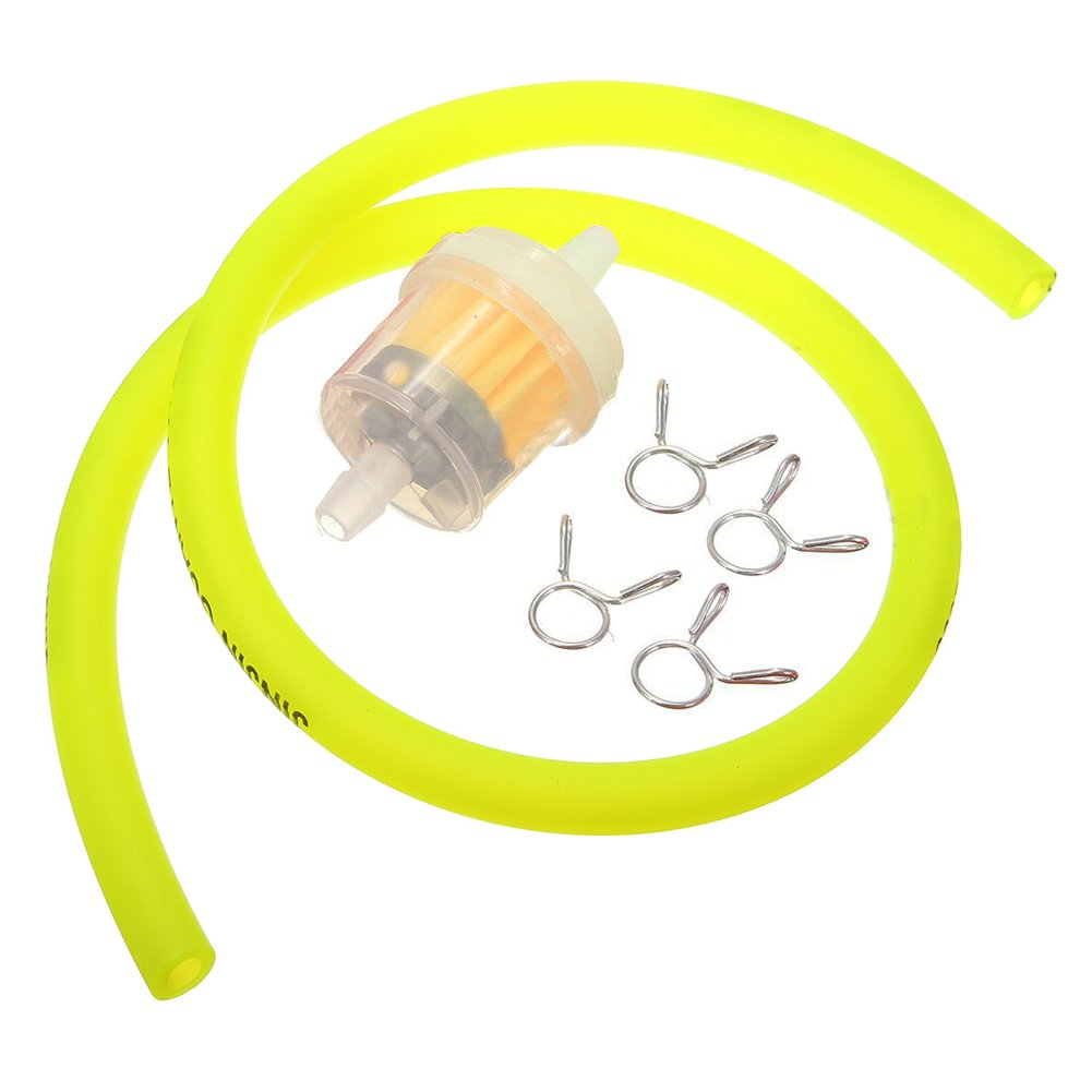 TOOGOO 6mm Gasoline Filter + Petrol Pipe Hose Line + 4 Clips Mini for Moto Scooter Dirt Bike Yellow