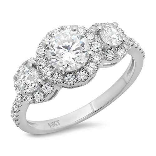 Clara Pucci 1.9 Ct Round Cut Solitaire Engagement Anniversary Pave Halo Bridal Band Ring 14K White Gold, Size 8 ()