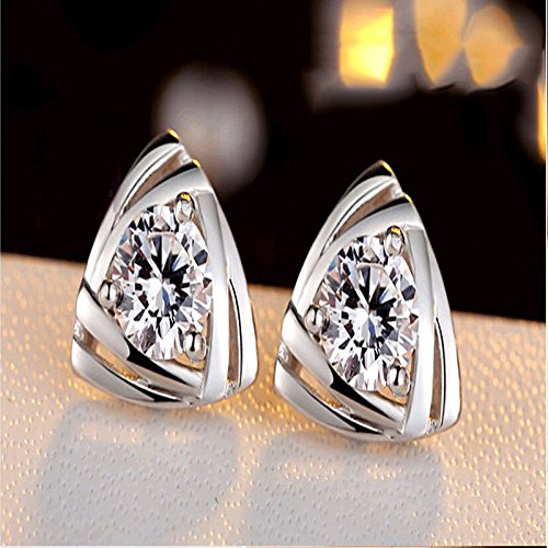Fashion Love Heart Crystal Stud Earrings Silver Earrings Triangular Jewelry