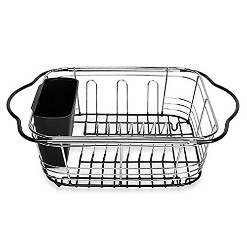 Dish Drying Rack In Sink, On Counter, Or Expandable Over the Sink Dish Drainer with Utensil Holder