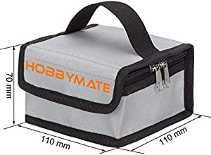 Hobbymate Lipo Charging Bag Fireproof, Lipo Battery Safe Bag for Storage & Charging Lipos - Mini Size (110x110x70 mm)