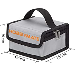 Hobbymate Mini Lipo Battery Safe Bag Fireproof for Storage Charging Lipos +++ With a secure heavy-duty velcro closure and vents to reduce pressure, two way zipper to ensure the bag awway from oxygen to make sure in accident lipo fire to last ...