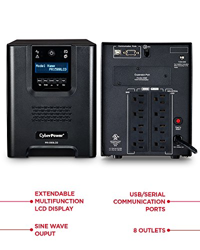 CyberPower PR1500LCD Smart App Sinewave UPS System, 1500VA/1050W, 8 Outlets, AVR, Mini-Tower by CyberPower (Image #1)