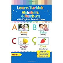 Learn Turkish Alphabets & Numbers: Black & White Pictures & English Translations