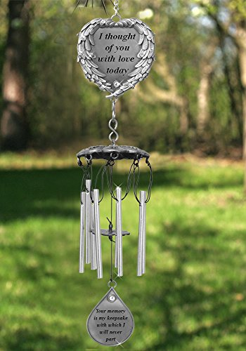 Memorial Windchimes - I Thought of You With Love Today Poem Engraved on this Wind Chime - Angel Wings Wrapped Around a Heart and Teardrop Charm - In Loving Memory (Memorial Keepsakes)