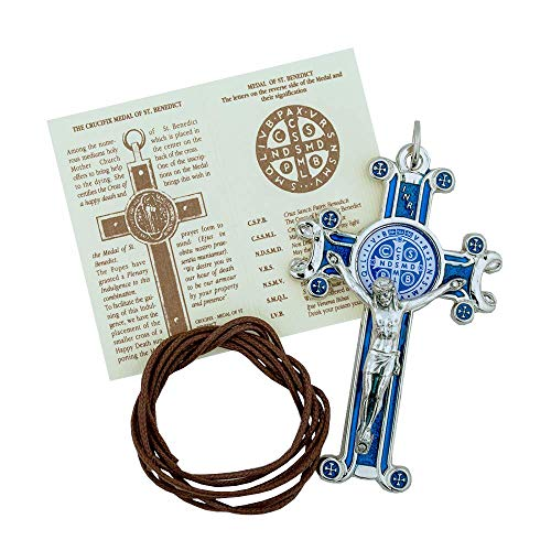Vatican Imports St. Benedict Crucifix with Cord and Booklet (Blue) (Imports St)