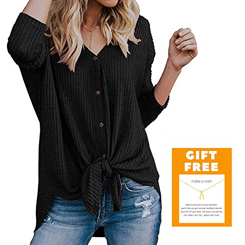 Beelu Womens Waffle Knit Tunic Blouse Tie Knot Henley Tops Loose Fitting Bat Wing Plain Shirts (Bonus with Wish Necklace)