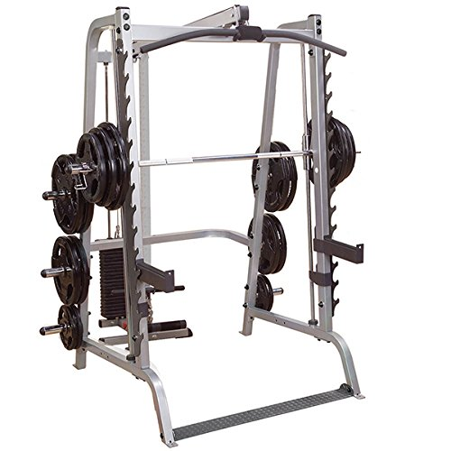 Body-Solid GS348Q Series 7 Smith Machine with Lat Attachment GLA348QS and 300 lb. Black Weight Stack
