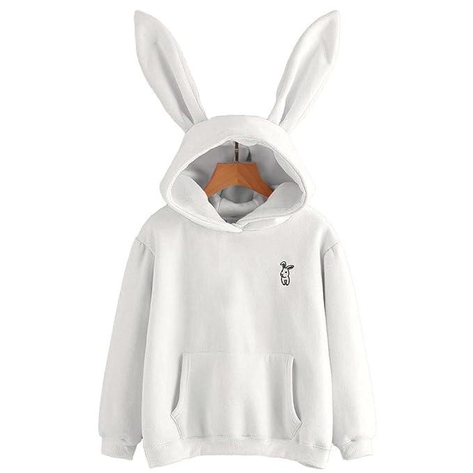Women's Clothing New Rabbit Ears Womens Girls Cute Hoodie O-neck Jacket Warm Coat Pullovers Tops
