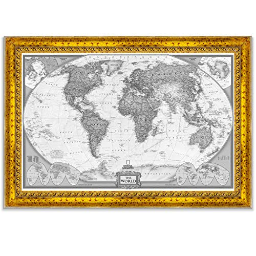 - World Travel Map Wall Art Collection Executive National Geographic World Travel Map Fine Giclee Prints Framed Wall Art with Push Pin, Ready to Hang, 26X40, White/Black Vintage Gold II