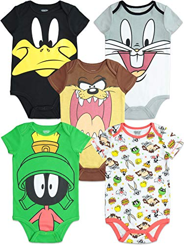 Warner Bros. Looney Tunes Infant Baby Boy Girl 5 Pack Bodysuit (24 -