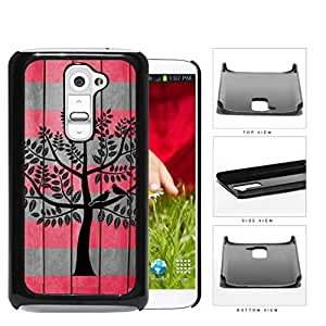 Love Birds On Tree Coral And Gray Wood Surface Hard Plastic Snap On Cell Phone Case LG G2