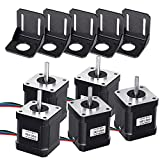 Nema 17 Stepper Motor, 5PCS Stepper Motor 1.7A 59Ncm/84oz.in 48mm Body w/1m Cable & Connector with 5PCS Motor Mounting Bracket and M3 M4 Screws for DIY 3D Printer CNC Robot