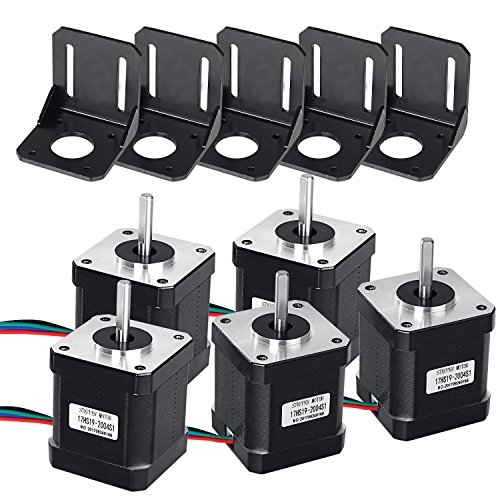 Nema 17 Stepper Motor, 5PCS Stepper Motor 1.7A 59Ncm/84oz.in 48mm Body w/1m Cable & Connector with 5PCS Motor Mounting Bracket and M3 M4 Screws for DIY 3D Printer CNC Robot by MYSWEETY