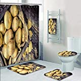 Philip-home 5 Piece Banded Shower Curtain Set Raw Organic Golden Potatoes in The Wooden Crate on Aged Wood Planks Table Pattern Printing Suit