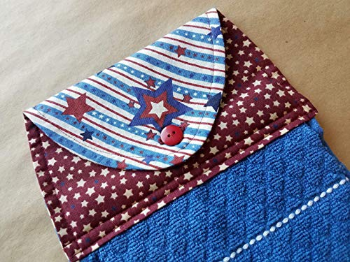 (Patriotic Stars Stripes Hanging Kitchen Towel Americana Home Decor Button Top Dish Towel Rustic Country Red White Blue USA BBQ Summer Home Decor Cookout 4th of July Linens Hostess Gift Under 20)