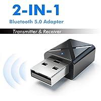 Leoie Bluetooth Transmitter Receiver,2 in 1 Bluetooth 5.0 Transmitter Receiver 3.5mm Wireless Stereo Audio Adapter