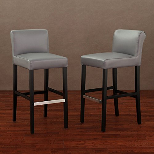 Metro Shop Cosmopolitan Charcoal Leather Barstool (Set of 2) (Cabinet Height Bar Stools)