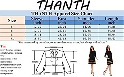 THANTH Womens 3/4 Sleeve A-Line Embroidered Loose Casual T-Shirt Tunic Dress