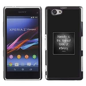 Cubierta protectora del caso de Shell Plástico || Sony Xperia Z1 Compact D5503 || Love Grey Poster Text @XPTECH