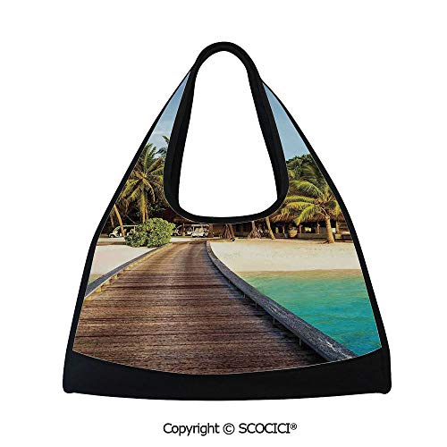 - Table tennis bag,Wooden Bridge to Island Beach Resort with Colorful Rainbow Over Palm Trees,Easy to Carry(18.5x6.7x20 in) Brown Green Aqua