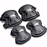 4pcs/set Tactical Armor Knee Pads Elbow Protector For Skating Baseball Exercise Sports Black
