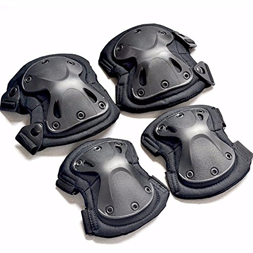4pcs/set Tactical Armor Knee Pads Elbow Protector For Skating Baseball Exercise Sports Black by Workouty