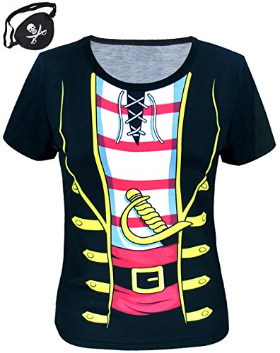 Funny World Women's Pirate Costume T-Shirts with Pirate Eyepatch (M, Black)
