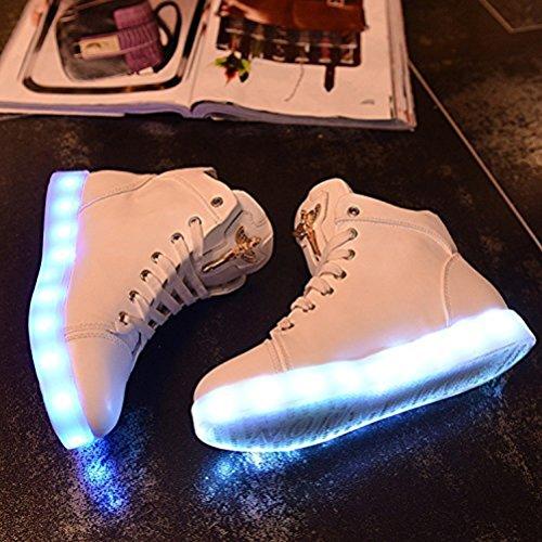 (Presente:pequeña toalla)JUNGLEST® LED Light 7 color Shoes zapatillas para hombre USB carga de techo luces intermitentes de calzado de deportes zapati, Blanco, 36 EU
