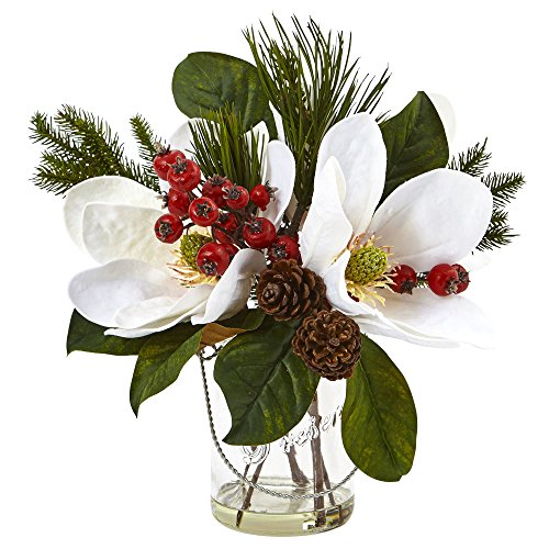 Nearly Natural 4548 Magnolia, Pine, and Berry Holiday Arrangement in Glass - Arrangements Flower Holiday