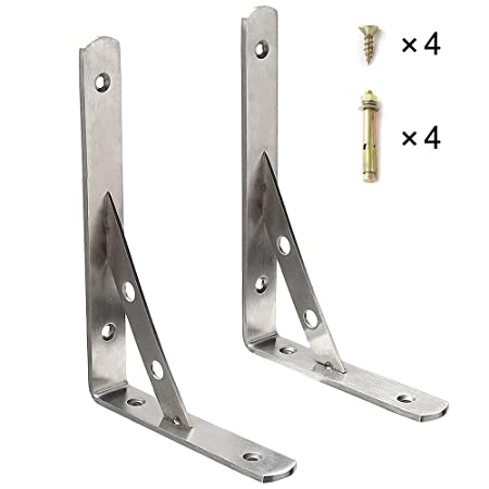 4MM Thick Stainless Steel Brushed Finished EJ7701-2P Sayayo Shelf Bracket Corner Brace Shelf Support Wall Hanging 350mm*250mm 2 Pcs