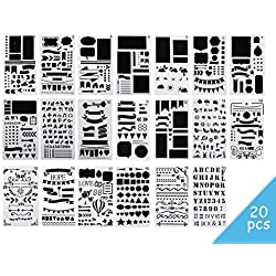 20 Pcs Bullet Journal Stencil Set,Painting Drawing Spraying Templates 4×7 Inch for Notebook Diary Scrapbook Planner Schedule Craft Projects