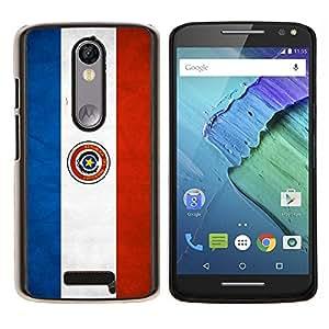 KLONGSHOP // Cubierta de piel con cierre a presión Shell trasero duro de goma Protección Caso - Nacional bandera de la nación País Paraguay - Motorola Moto X3 3rd Generation //