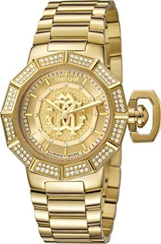Roberto Cavalli Women's RV1L003M0076 Champagne Dial Two Tone Yellow Gold IP Wristwatch