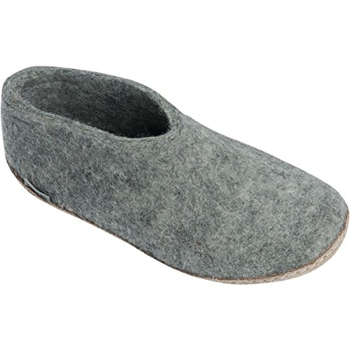 A Slipper Glerups Shoe Unisex Natural Grey Wool Model ExEYBwnqU