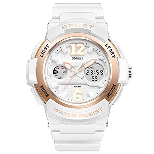 fomtty Blanco Mujer Reloj analógico para mujer niña Digital Reloj de pulsera reloj deportivo impermeable militar reloj despertador Fecha Watch LED de alarma ...