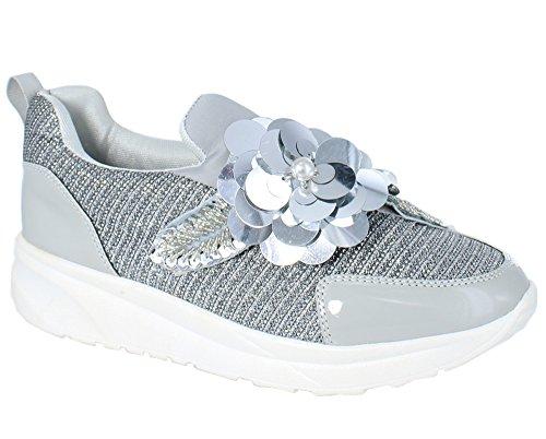 Solo Sneakers Da Donna Moda Floreale Arredamento Comfy Zara-01 Argento