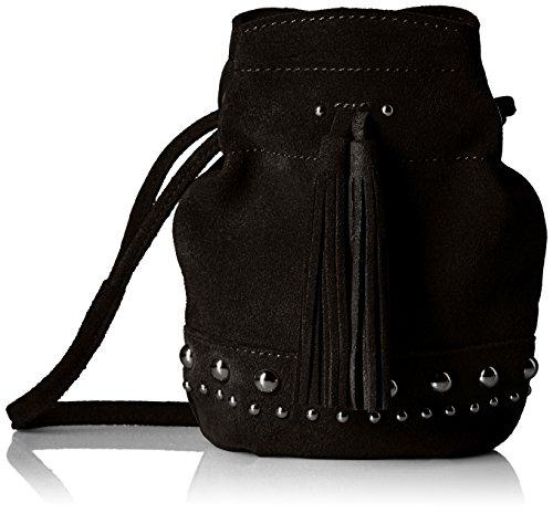 (The Fix Kirby Mini Studded Suede Bucket Crossbody Bag, Black)