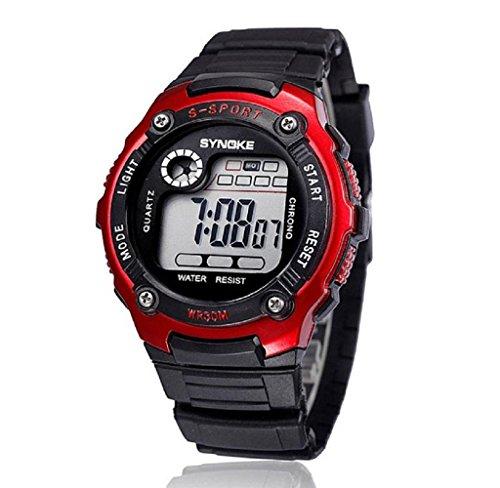 Sports Boy Digital LED Quartz Alarm Date Wrist Watch Waterproof Red - 1