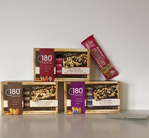 (GLUTEN FREE: 180 Snacks Trail Mix Crunch Bars Variety of 3 Boxes-Individually Wrapped. Almond Cashew, Blueberry Pomegranate & Cranberry Pomegranate + a Bonus GF Candy Recipe From Z-Organics (15 Bars))