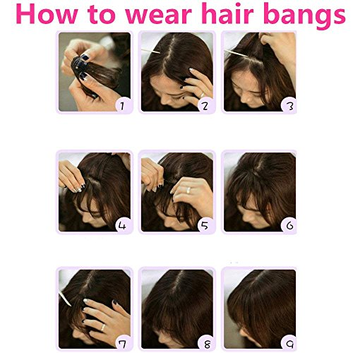 HIKYUU Bangs Hairpiece Clip-in Front Straight Hair Bangs Extensions without Temples Natural Black 100% Real Remy Human Hair Natural Looking by HIKYUU (Image #3)